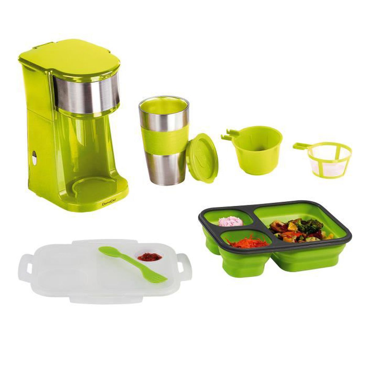 lunch box 3 compartiments couverts vert cafeti re mug isotherme verte achat vente lunch. Black Bedroom Furniture Sets. Home Design Ideas