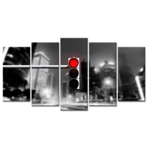 TABLEAU - TOILE Tableau Déco Photo Urbaine Feu Rouge - 150x80 cm
