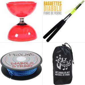DIABOLO JUGGLE DREAM - Diabolo Quartz V2 Rouge + Baguettes