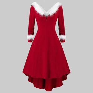 ROBE Robe - Noël femmes Faux peluche manches longues co