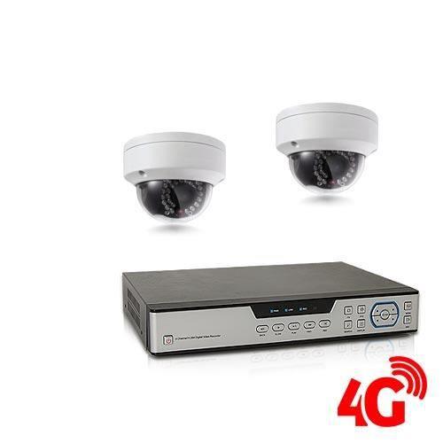 Kit de vidéosurveillance 3G 4G intérieur-extérieur avec enregistreur IP 1To et 2 caméras dôme HD 1080P WIFI