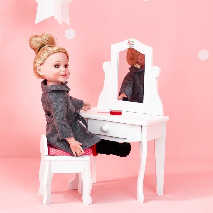 Meuble coiffeuse avec tabouret miroir tiroir pour poupée poupon jouet Olivias Little World TD-0207A
