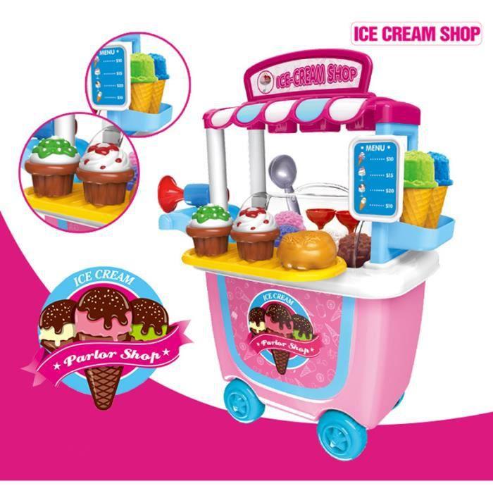 Jouet Enfants Ensemble de Jeu, 31pcs crème glacée Jouets de rôle Playset Mallette de Transport 2 3 4 Ans Filles Tout-Petits Toys