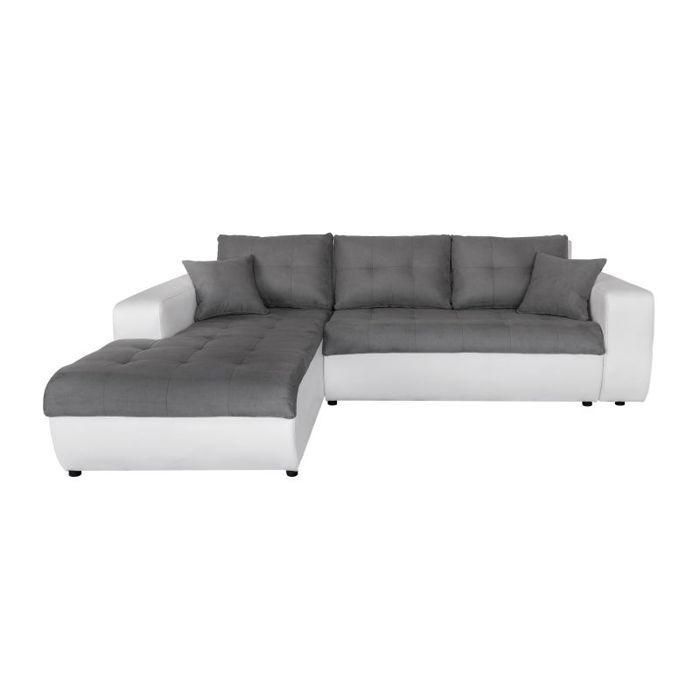 Canapé d'Angle Gauche SUZIE Convertible en Simili et Microfibre Blanc - Gris