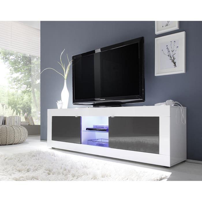 Meuble TV blanc et gris laqué design ARIEL 3 L 181 cm Avec L 181 x P 43 x H 56 cm Blanc