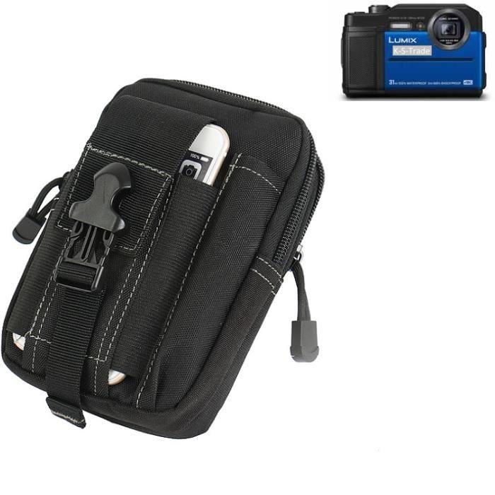 Grand Pochette ceinture pour Panasonic Lumix DC-FT7 noir sac de camera digital Housse de protection