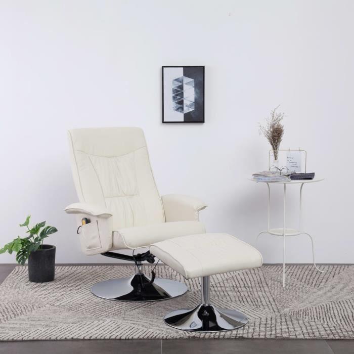Fauteuil de massage Relax Massant Chaise salon de massage Relaxation - avec repose-pied Crème Similicuir
