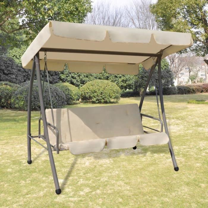 🦄7729Contemporain- Balancelle de Jardin 2- 3 places toit imperméabilisé avec auvent - Balancelle d'extérieur Fauteuil Suspendu Blan