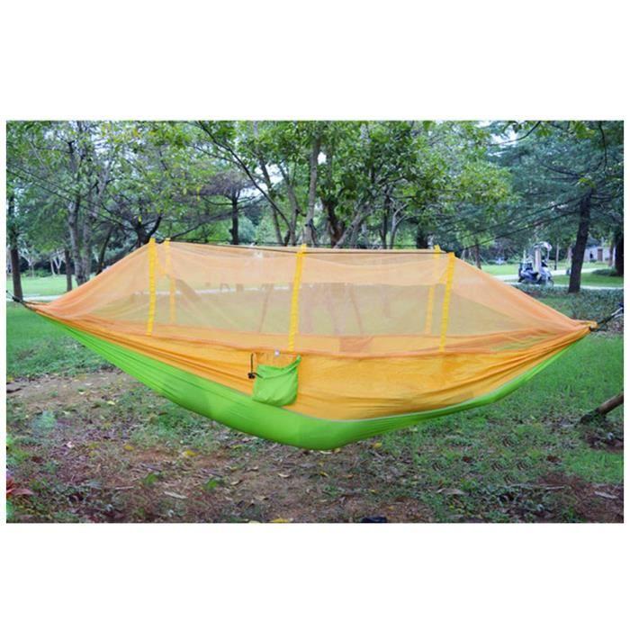Hamac Léger Avec Moustiquaire Pour Intérieur Et Extérieur Hamac de Voyage Camping Randonnée Pédestre Jardin Orange 260x145cm