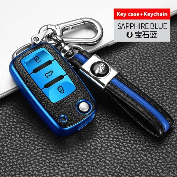 Coque clé,Étui pour voiture volkswagen, pour vw magotan b8 polo 9n golf 4 3 6 5 6r 7 mk7 mk4, passat b5 b7 b6 b8 - Type blue #B
