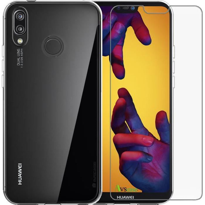 Pack Huawei P20 Lite - Coque Silicone + Verre Trempé - AVSCASE - Transparent
