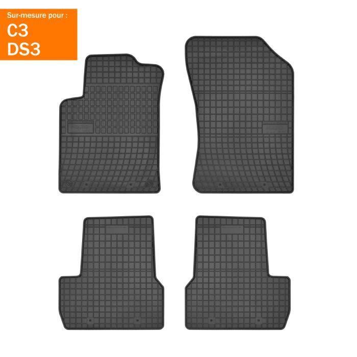 DBS - Tapis voiture / auto - Sur Mesure pour C3 / DS3 (2009 - 2020) - 4 pièces - Antidérapant - Souple - 100% Caoutchouc