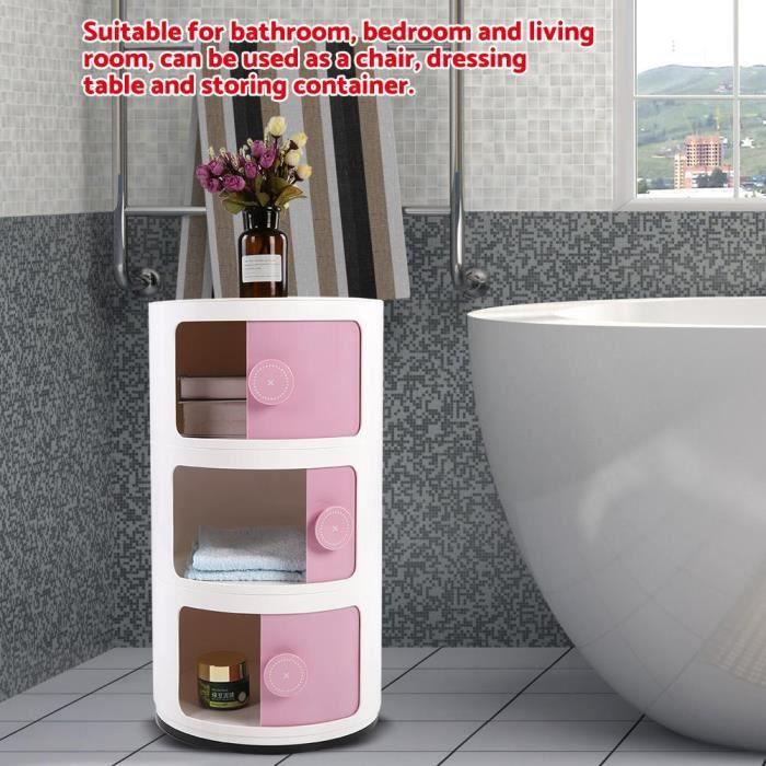 3 couches 3 d'armoire de rangement contenant conteneur forme ronde porte coulissante approvisionnement rose-LAFD