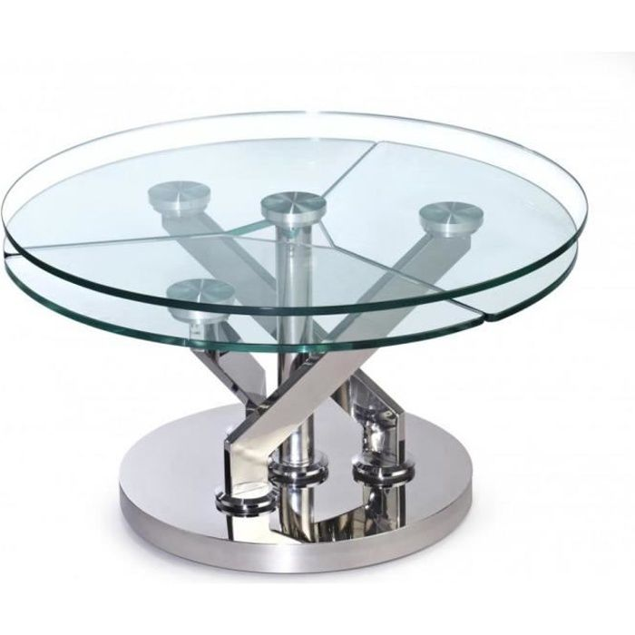 Table basse CARROUSEL Ã plateaux pivotants en verre et acier chromé transparent Verre Inside75