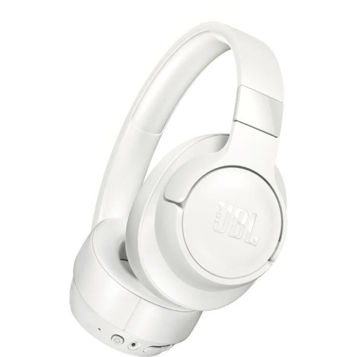 JBL Tune 700 BT Casque Bluetooth Sans Fil - Appel Stéréo Mains Libres - Léger & Pliable - Autonomie de 27 hrs - Bluetooth - Blanc