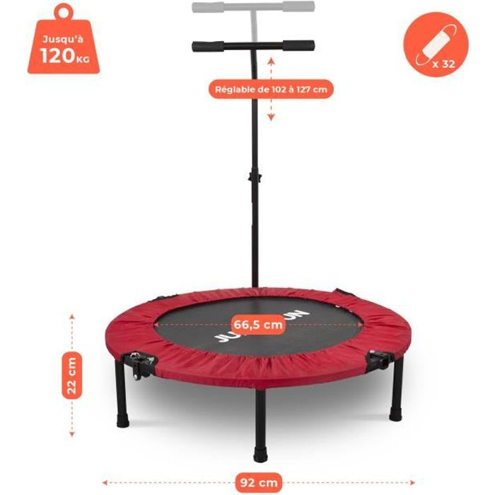 Mini Trampoline Fitness Jump4fun Pliable T-Bar - Ø92cm, Rouge