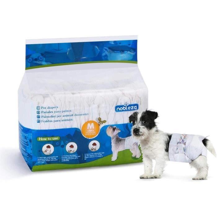 Nobleza - Pack de 12 couches jetables pour chien, bien-être et confort. Extra absorbantes. Taille M (3 à 5kg).