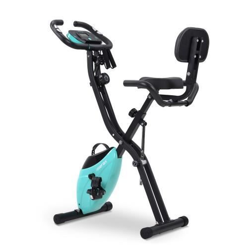 Vélo d'Appartement Pliable Vélo de Fitness 10 Niveaux de Résistance, Vélo d'exercice à l'Intérieur Moniteur Numérique - Bleu