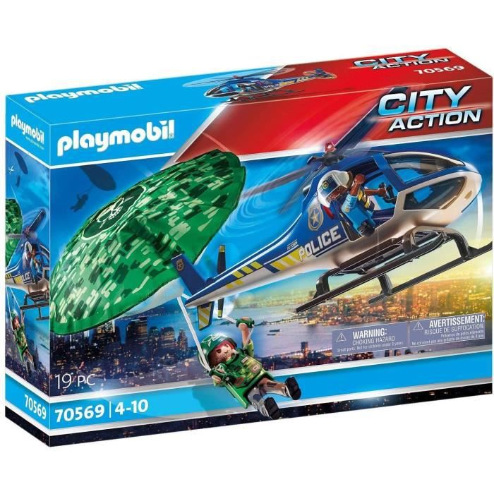PLAYMOBIL - 70569 - Police Hélicoptère de police et parachutiste