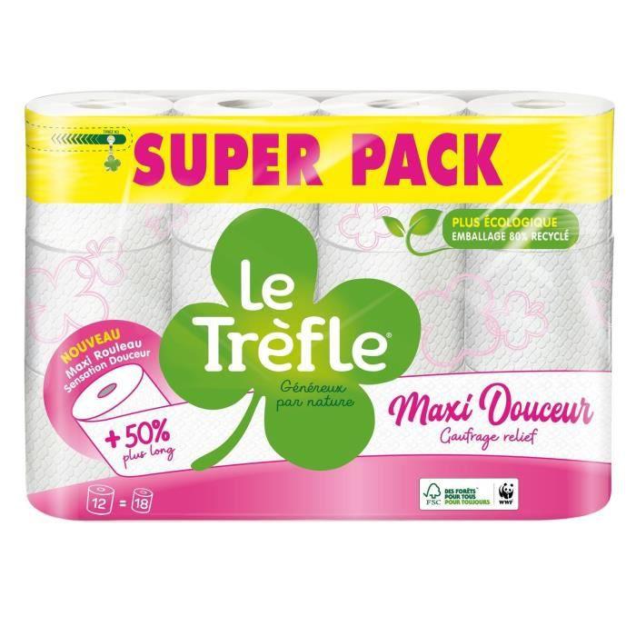 LE TREFLE Papier toilette Maxi douceur - Blanc - x12 = 18 rouleaux