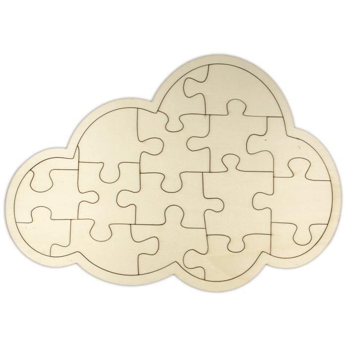 ca Puzzle en Bois Nuage /à Peindre /à Modeler Cr/éez d/écorez Votre Propre Puzzle pr/êt /à d/écorer Puzzle Vierge//Blanc 29,5 x 21 cm 18 pi/èces