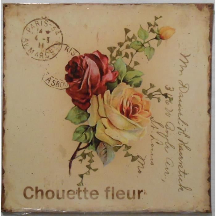 Plaque d corative en m tal chouette fleur 25x25 cm achat for Plaque murale decorative metal