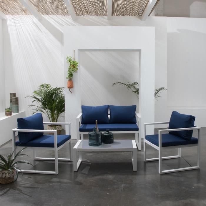 Salon de jardin IBIZA en tissu bleu 4 places - aluminium blanc