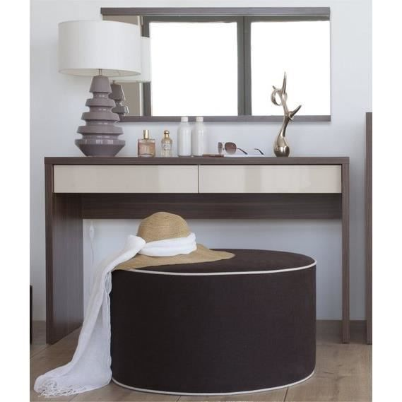 coiffeuse 2 tiroirs inbox avec pouf cube beige et miroir. Black Bedroom Furniture Sets. Home Design Ideas