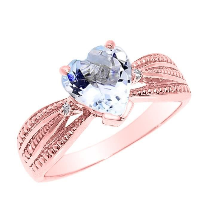 Bague Femme 10 ct 471/1000 BeautifulOr rose Aquamarine etDiamant