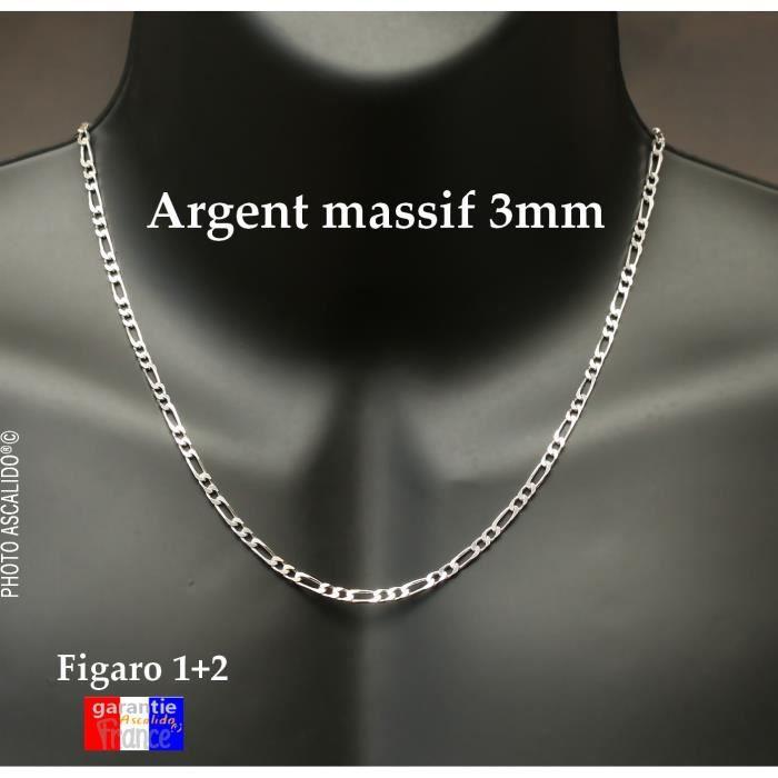 Véritable Argent 925 Collier Gourmette Massif 50 cm Bijoux pour Hommes et Femmes