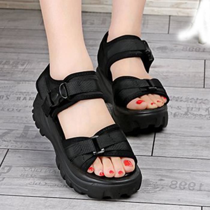 NEW LOOK NEUF noir confort Shimmer Sandales UK 6 Nouvelle Saison