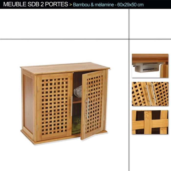 meuble haut de salle de bain de 2 portes en bambou h50 x. Black Bedroom Furniture Sets. Home Design Ideas