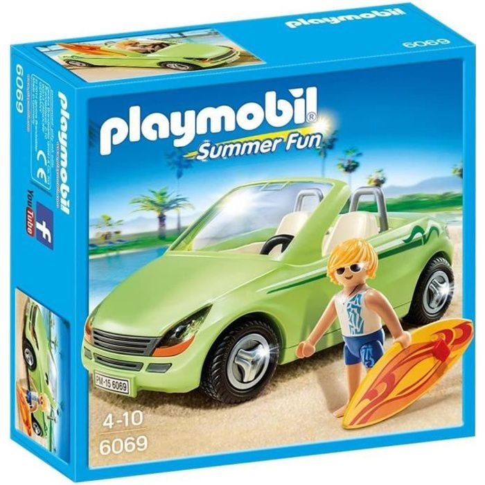 playmobil 6069 surfeur et voiture d capotable achat vente univers miniature cdiscount. Black Bedroom Furniture Sets. Home Design Ideas