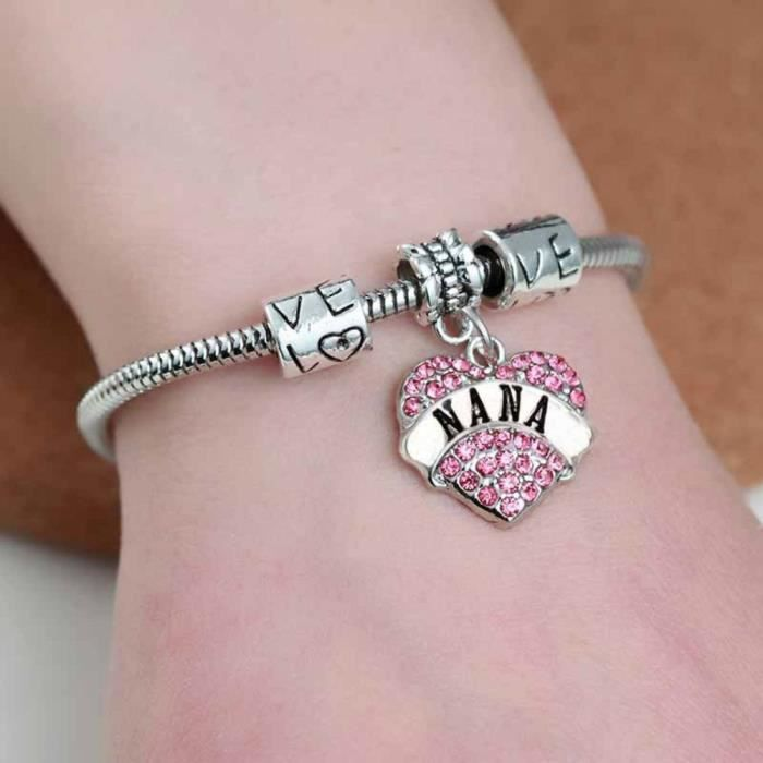 Womens Bling Crystal Pink Zircon Pave Heart Love European Charm Bead Snake Chain Bracelet With Ext YJ41F