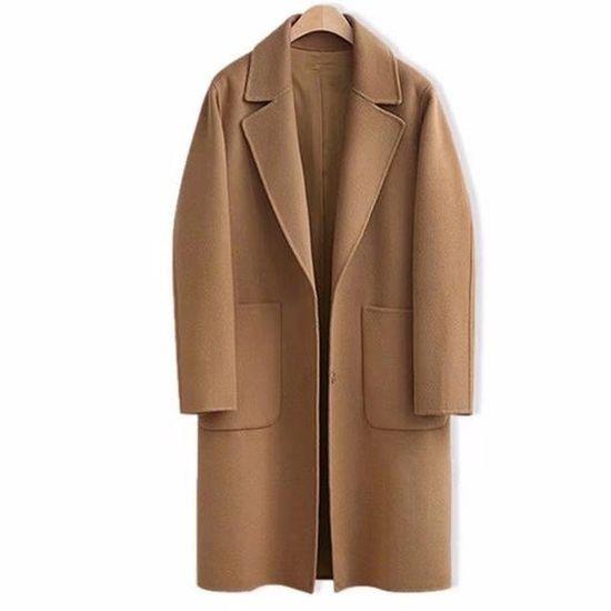 Trench long pour femme kaki et caf/é En laine Coupe slim Disponible en noir Manteau d/écontract/é pour automne et hiver