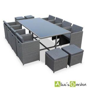 Ensemble table et chaise de jardin Salon de jardin 8-12 places - Vasto - Coloris Gris