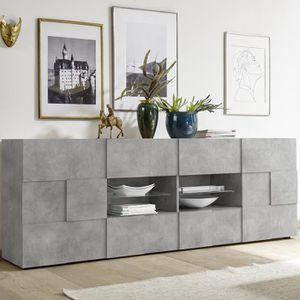 BUFFET - BAHUT  Enfilade 240 cm design grise effet béton DOMINOS 4