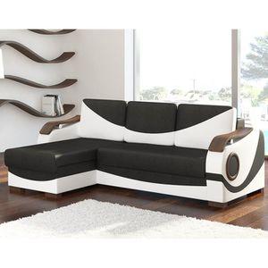 CANAPÉ - SOFA - DIVAN Canapé d'angle gauche convertible noir et blanc LI