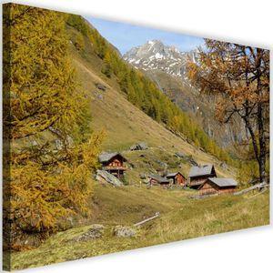 Montagne Petite Toile Neuve Imprimée Flocon  20 x 20 cm Décoration Chalet