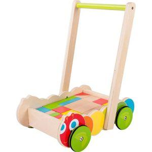 PORTEUR - POUSSEUR Chariot de marche pousseur en bois avec Cube