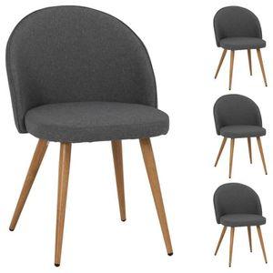 CHAISE Lot de 4 chaises SUAVE en tissu gris pour salle à