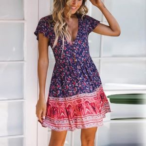ROBE Robe Courte Femmes Boho Floral Summer Beach Party