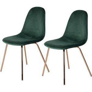 CHAISE Chaise Skuli en velours vert (lot de 2)