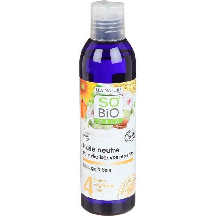 SOBIO Huile de massage neutre - Bio - 200 ml