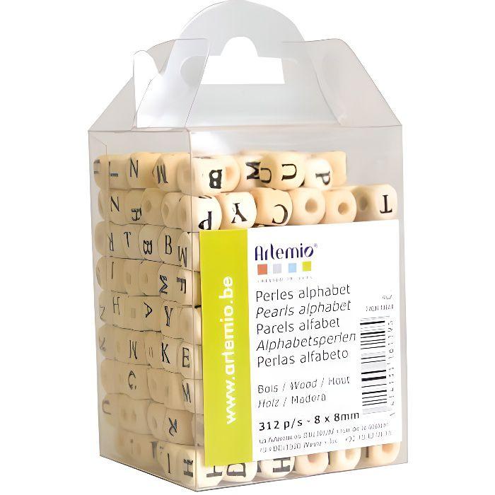 ARTEMIO 312 Perles en Bois Alphabet 8*8 cm