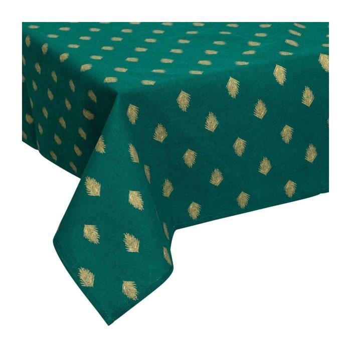 Atmosphera - Nappe en coton Vert foncé impression feuille OR 140x240 cm Vert Foncé