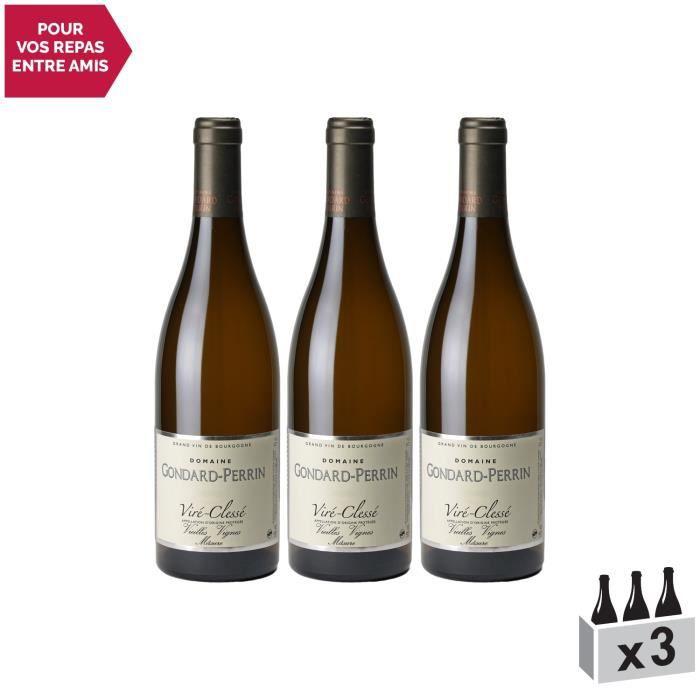 Viré-Clessé Vieilles Vignes Blanc 2018 - Lot de 3x75cl - Domaine Gondard Perrin - Vin AOC Blanc de Bourgogne - Cépage Chardonnay
