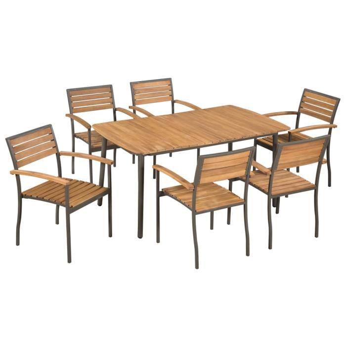 7 pcs Mobilier de jardin Bois d'acacia massif et acier - 1 table et 6 chaises empilables