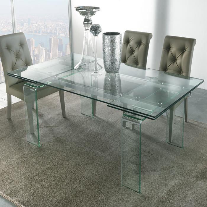 Table design en verre extensible DELIA 140 cm