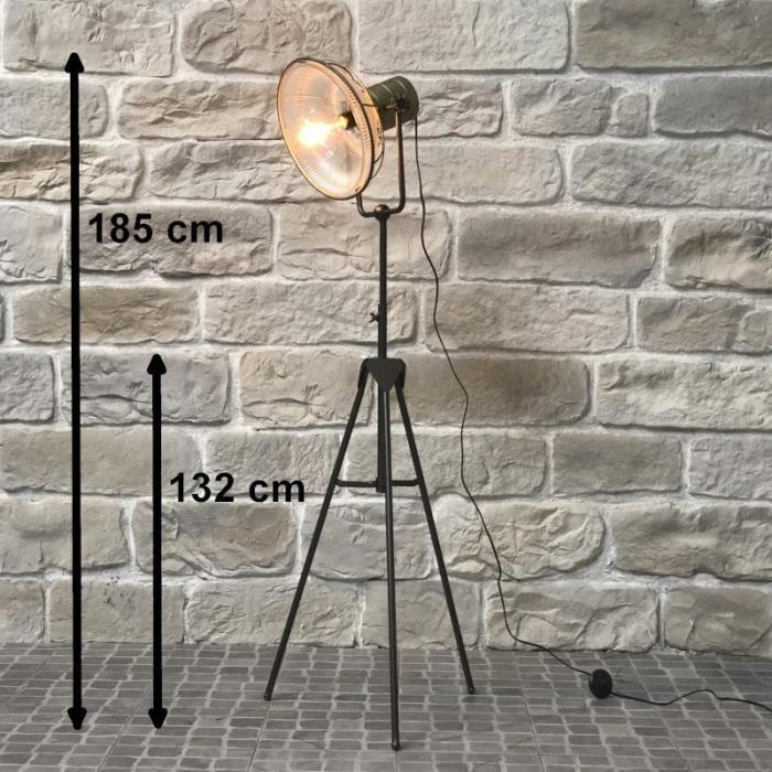 Lampadaire Halogène Lampe Industrielle Fer Globe Verre Strié Ancien 185 cm - 14426-Lampe-Bis